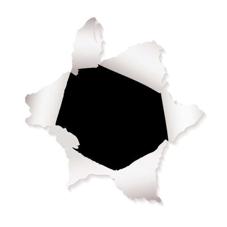 White paper with torn paper hole and ripped elements Stock Photo - 7287120