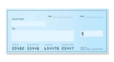 chequebook: Blue dollar old style bank cheque blank for your business