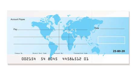 chequera: cheque de Banco ilustrada con mapa y muestra la plantilla de mundo