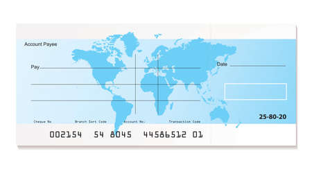 illustrated bank cheque with world map and sample template photo