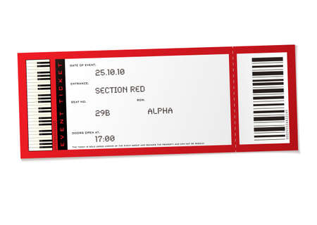 ticket: red concert event ticket with set number and bar code Stock Photo