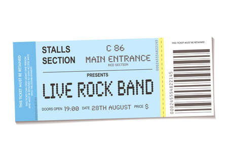 admit: sample concert ticket with realistic look and date information Stock Photo