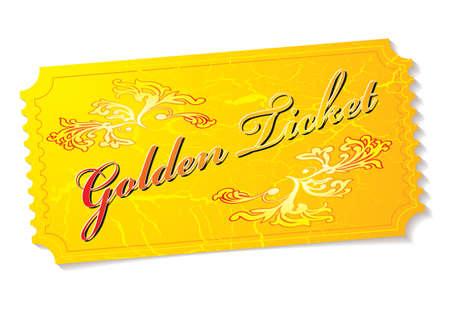 Golden winning prize ticket illustration with floral elements