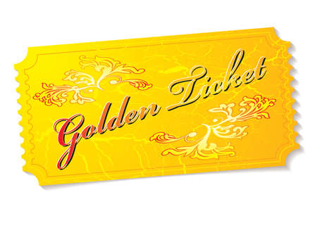 Golden winning prize ticket illustration with floral elements
