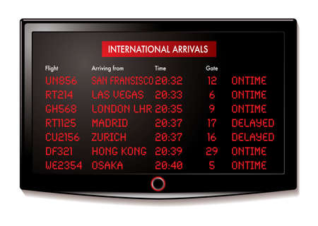 the delayed: international flight arrivals display board with time and gate numbers