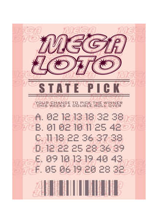 Illustrated pink mega lottery ticket with winning numbers photo