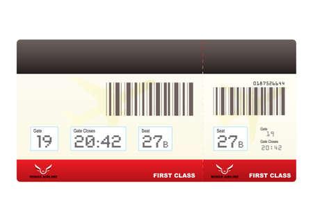 boarding card: primo biglietto aereo di classe o di carta d'imbarco con codice a barre in rosso Archivio Fotografico