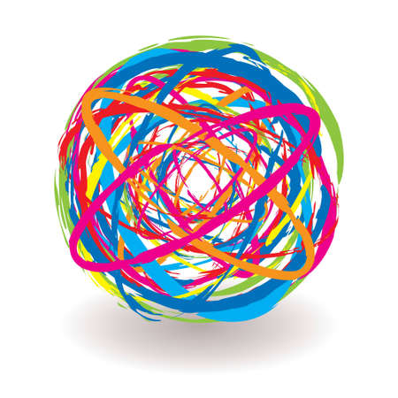 elastic band: Abstract elastic band icon ball with bright colored elements