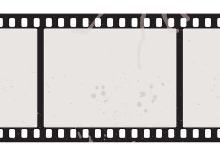 Illustrated film strip with grunge concept and dirty splats photo