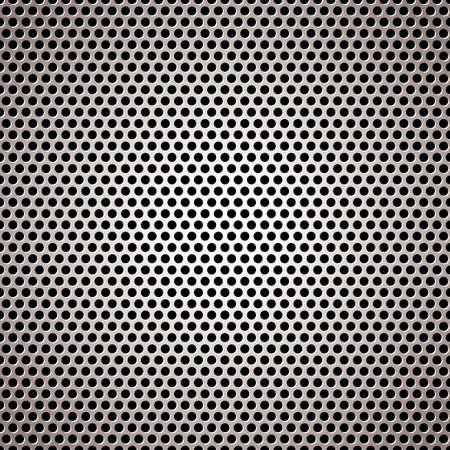 perforated: light silver metal background with round hole and reflection