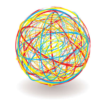 elastic band: elastic or rubber band ball illustration with bright colors and shadow