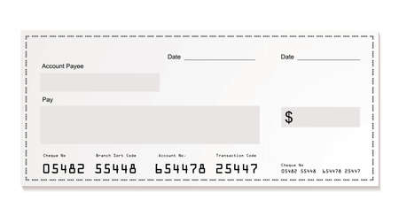 cheque: Simple illustration of dollar white cheque with space for your own text