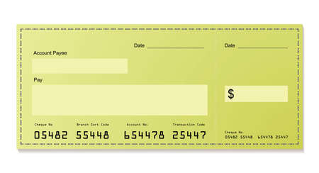 check blank: green dollar bank cheque with space for your own information