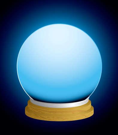 psiquico: bola de cristal de cajero de fortuna de vidrio con fondo brillante y base de madera
