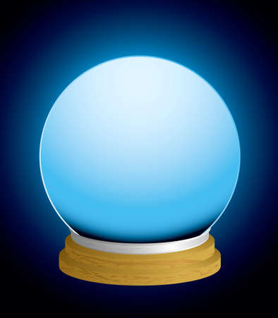 glass fortune teller crystal ball with glowing background and wood base