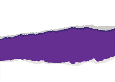 puncture: Purple background with torn strip and feathered edges copyspace