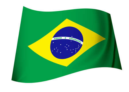 green and yellow brazil flag icon with globe and stars photo