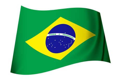 icono de bandera de Brasil de color verde y amarillo con globo y estrellas  Foto de archivo - 7635504