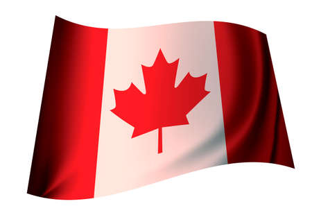 canadian flag: Canadian red and white flag icon with maple leaf for canada