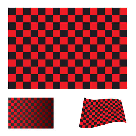 red and black checkered flag icon collection with variation Stock Photo - 7635531