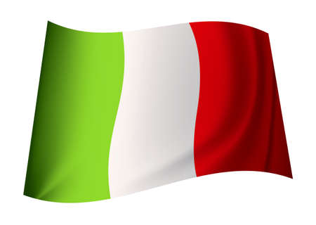 green white and red italy flag icon with ripples blowing in the wind photo