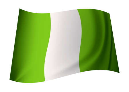creases: green and white nigeria flag with creases in icon