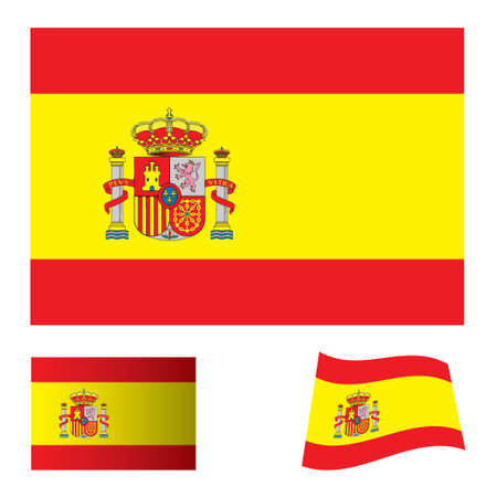 spanish flag icon with red and yellow stripes and variation Stock Photo - 7635536