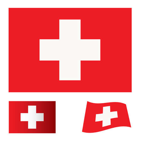 red flag background with white cross swiss icon Stock Photo - 7635430