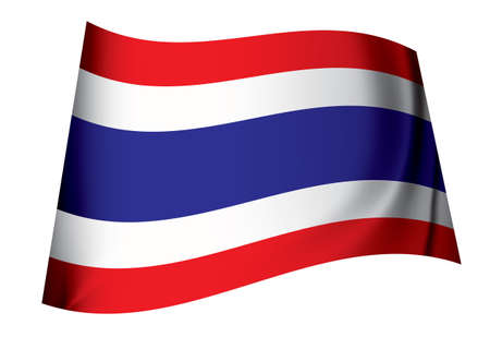 Flag of thailand icon symbol fluttering in the breeze with folds photo