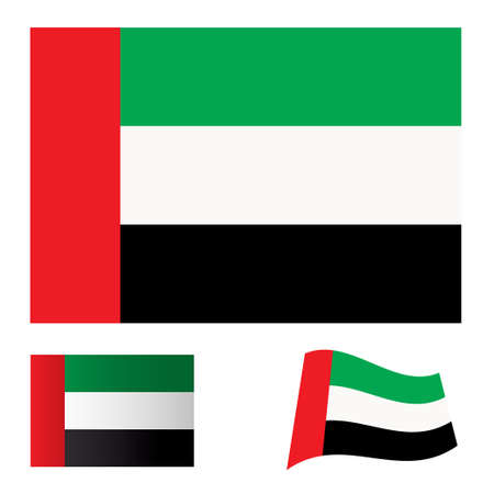 Illustrated collection of flag icon set for the United arab emirates Stock Photo - 7635425