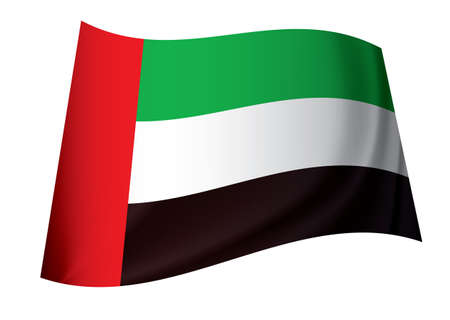 arab flags: United arab emirates flag in green red white and black