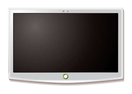 fullhd: Modern LCD TV hanging on wall with blank screen Stock Photo