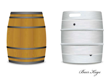 gunpowder: Two new and old beer kegs with wood and metal version Stock Photo