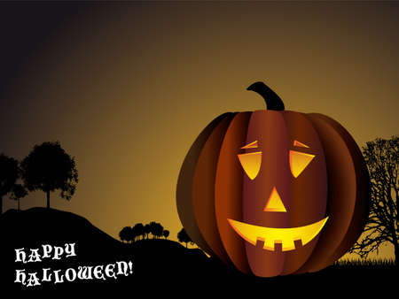 Halloween background with pumpkin and spooky trees in silhouette photo