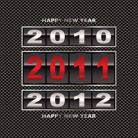 clicker: Happy new 2011 year change with modern carbon fiber background