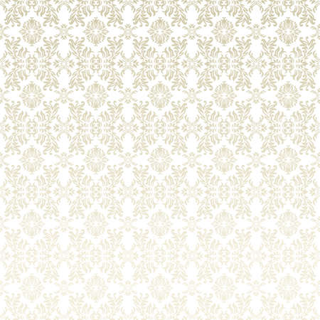 Classic gothic floral wallpaper background pattern in white and beige Standard-Bild