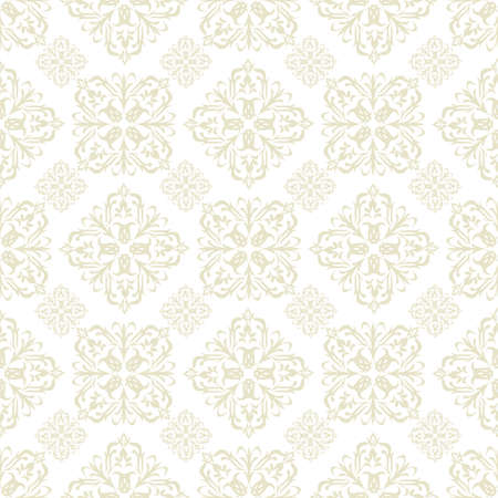 damask seamless: Beige seamless wallpaper pattern design in brown and white