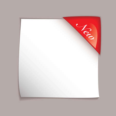 White square paper element with red corner tag and shadow Stock Photo - 8109930