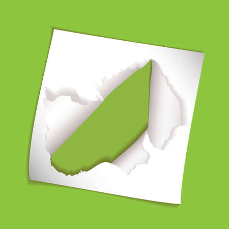green background with torn hole element and copyspace photo