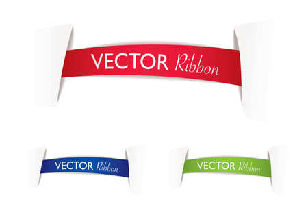 illustrated ribbon banners with paper cuts and shadow Stock Photo - 8109935