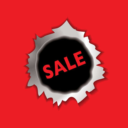 torn metal: metal bullet hole with sale icon and red background Stock Photo