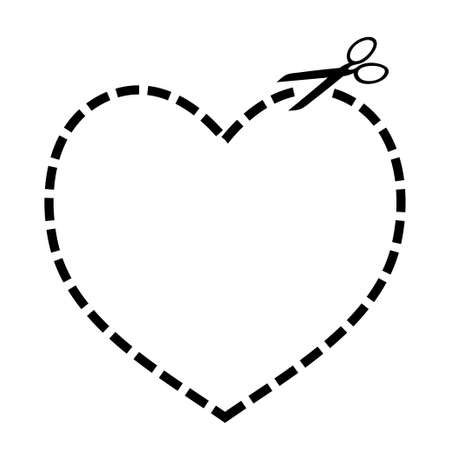 Heart concept with dotted line and scissors illustration illustration