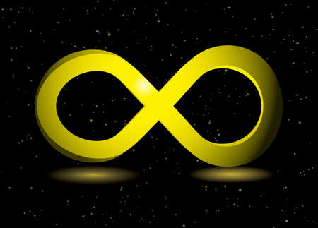golden infinity symbol on black background and sparkling dust photo