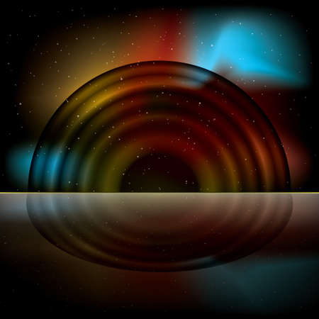 Bright space rainbow background with sparlking stars and reflection Stock Photo - 8198986