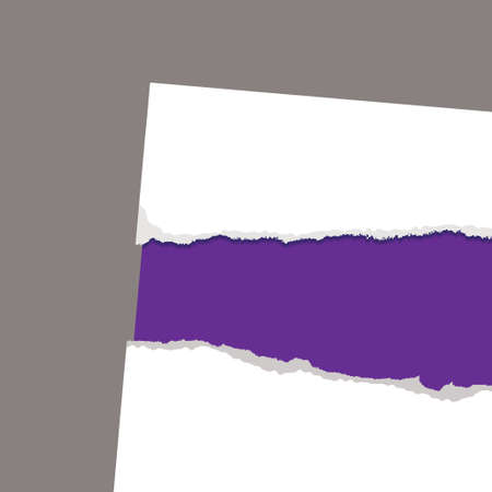 purple card background with white paper torn edges Stock Photo - 8198983