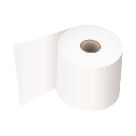 toilet roll: white toilet roll with perforations and realistic shadow Stock Photo