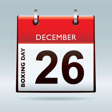 time of the day: Simple red and white boxing day calendar icon