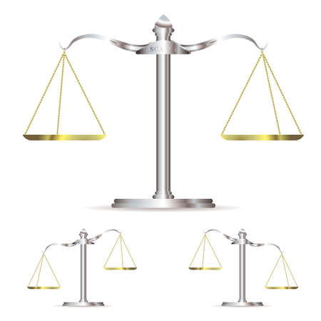 Scales of justice in level up and down position with gold chains Stock Photo - 8400013