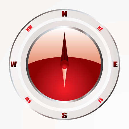 Modern compass icon with red base and silver trim bevel