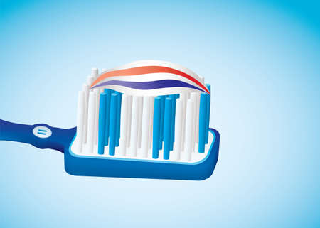 fluoride: illustrated blue toothbrush with toothpaste and red white stripes Stock Photo
